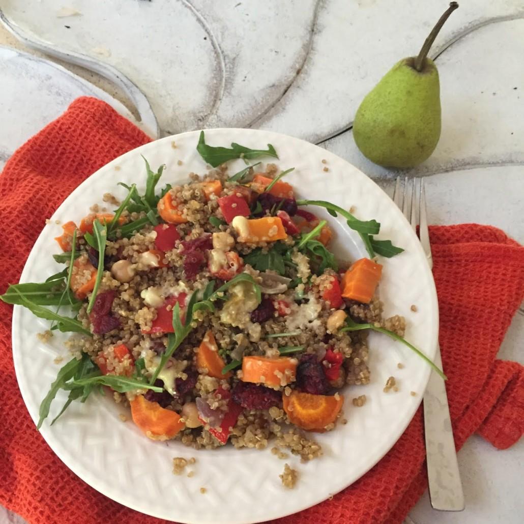 Roast Carrot and cranberry quinoa salad |www.healthymealstoyourdoo.com.au